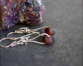 Sterling Silver Earrings - Silver Dust, Wine Garnet Glass, Drop Dangle Earrings, Boho Jewelry