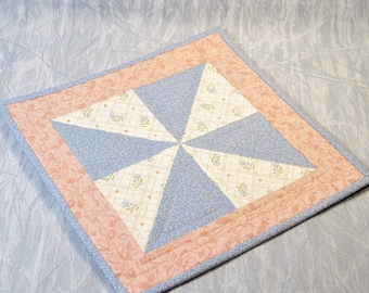Quilted Candle Mat/Table Topper, Light Blue, Peach, and Off-White