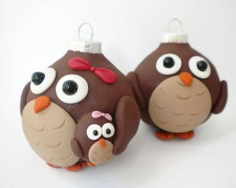 Owl Family Christmas Ornaments, FREE SHIPPING