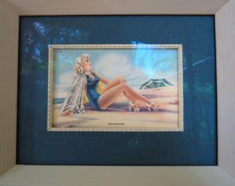 "Bathing Beauty Custom Framed Print - ""Anticipation"" -  Mid-Century Decor"