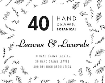Hand Drawn Leaves and Laurels Clipart. Wedding invitation clipart, floral, leaf, printable. EPS vector, PNG files. Instant digital download.