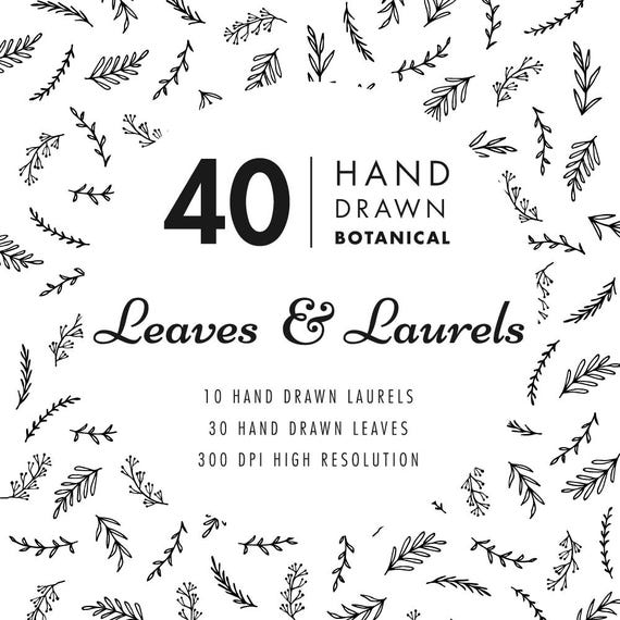 Hand drawn leaves and laurels clipart wedding invitation clipart wedding invitation clipart floral leaf printable eps vector png files instant digital download from juicypaperie on etsy studio stopboris Image collections