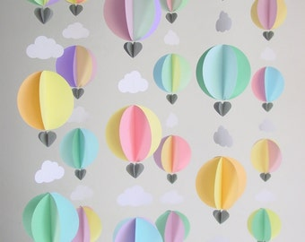 Party Pack of Hot Air Balloon Garlands - Travel theme Nursery Mobile - Baby Shower Decorations - Travel Theme Baby Shower - Up up and away