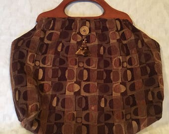 Large Knitting Tote Bag - Vintage Inspired - Plum, Tan & Brown Heavy Fabric - Carpetbag