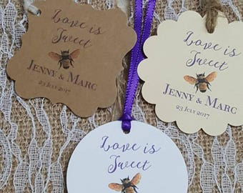 """Personalized Favor Tags 2x2"""" or 2"""", Wedding tags, Thank You tags, Favor tags, love is sweet, Bridal Shower,  meant to bee, meant to be"""