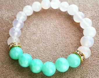 Jade, Gemstone Bracelet, Turquoise Jewelry, 8mm Beaded Bracelet, Beaded Jewelry, Moonstone Bracelet, Boho Gift Ideas, Hippy Jewelry