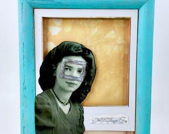 She Was Always Getting Framed handmade assemblage box
