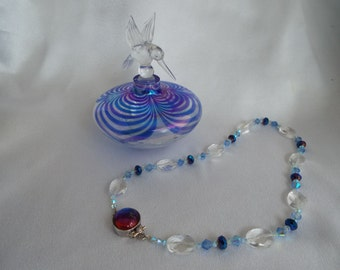 Blue Crystal and Quartz Crystal Necklace