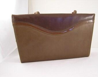 Vintage Retro Brown Leather Lennox Handbag Purse 1950's - 1960's Original