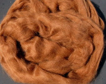 Suri Alpaca Roving for Spinning, Silky Brown, 2 ounces
