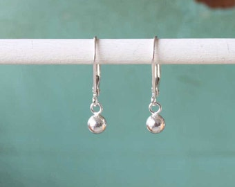 Everyday Silver Dangle Earrings, Sterling Silver, Silver Ball, Simple Silver Earring, Silver Leverback Lever back Earrings, Gift for Her