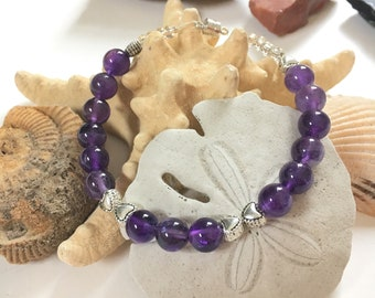 Amethyst Bracelet - Handmade Jewelry -Gifts for Her - Ready to Ship - Natural Gemstone