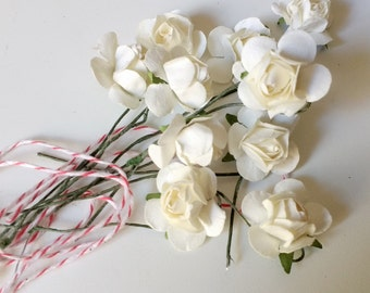 36 White Millinery  Paper Roses Flowers  Vintage Style