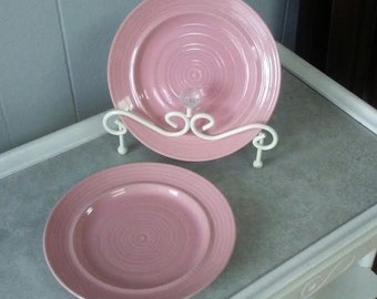 Pink Plates, Carnivale Plates, Stoneware Plates, Salad Plates, Vintage Stoneware, Dessert Plates, Salad Plate Set, Pink Stoneware, Signature