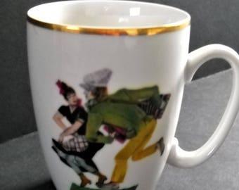 Favolina Polish Dancers Polka Porcelain Mug Cup Gold Trim Made In Poland