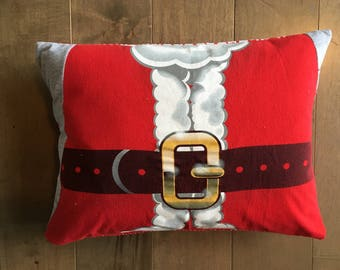 Christmas Santa Upcycle T-Shirt Pillow (12x16)