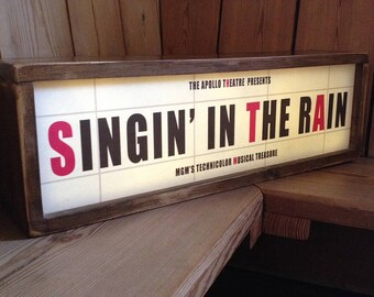 Retro Vintage Cinema Personalised Lightbox Sign