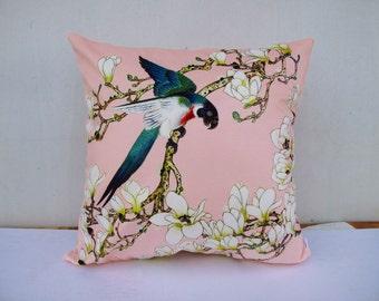 Flower Bird Pillowcase Flowers Pillow Bird Cushion Sitting Birds Pink Pillowcase