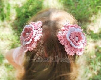 Crochet Pattern 118 -  Headband Crochet Pattern - Crochet Flower Clip Pattern - Hair Clip Pattern - Hair Accessory - Girls - Ladies - Women