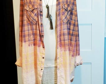 Distressed Ombre Flannel oversized shirt dress in orange and blue