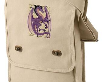 Dragon Nouveau Embroidered Canvas Field Bag