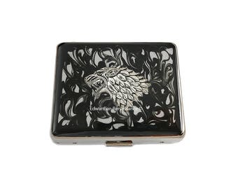 Game of Thrones Wolf 7 Day Pill Box Inlaid in Hand Painted Enamel Black Ink Swirl Design Personalized and Color Options Available