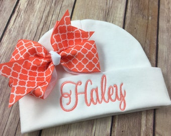 Personalized Baby Beanie Hat CORAL QUATREFOIL Monogrammed Baby Hat Embroidered Monogram Infant Girl Personalized Newborn Baby Shower Gift
