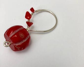 Sterling silver and red coral hammered pendant