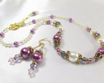 Radiant Orchid Swarovski and Faceted Amethyst Bridal or Bridemaid Necklace and Earring Set