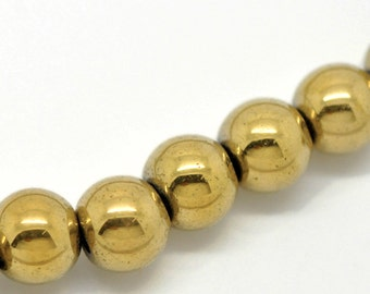8mm Round Titanium Coated GOLD HEMATITE Gemstone Beads, full strand,  ghe0011