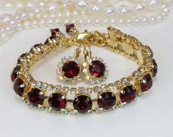Red Bridal Jewelry Set Ruby Red Swarovski Crystal AB Bracelet Earrings Deep Red Wedding Bridesmaids Gift Christmas Valentines,Gold,Siam,GB52
