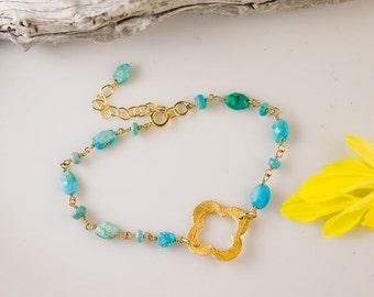 Turquoise Bracelet - Layering Bracelet - 4 leaf Clover - Four Leave Clover bracelet - Gold bracelet - Boho Chic Bracelet
