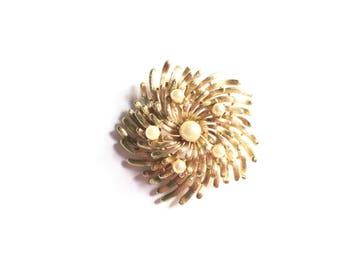 Vintage brooch, atomic brooch, gold brooch, pearl brooch, large brooch, retro brooch, vintage jewelry,  lisner brooch,