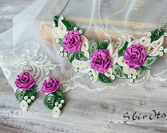 1st Wedding Anniversary Gift For Wife, Rose Flower Necklace, OOAK Paper Jewelry, Paper Wedding  Anniversary Her, SbirOtak Jewelry