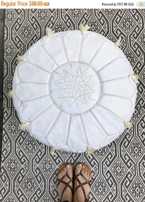 30% OFF Pouf Sale// White Moroccan Leather Pouf with Tassels & Pompoms >> for Home gifts, wedding gifts,birthday gifts, ottoman