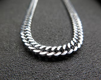 stainless steel necklace. mens jewelry. 22 inch silver curb chain for men. made in Canada.