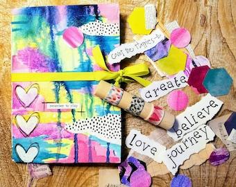 Art Journal, Junk Journal, Handmade Art Journal KIT, Mixed Media Art Journal with embellishments & washi sampler