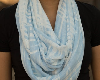 Shear Light Blue and White Modern Print Infinity Scarf