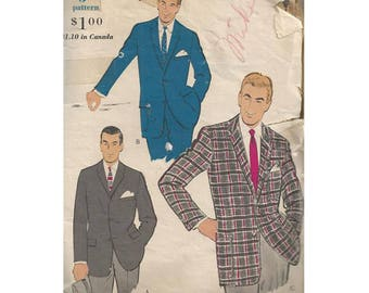 1960s Mens Sport Jacket Chest 38 Vogue 9445 Three Button Front Blazer with Pocket Variations Vintage Sewing Pattern Menswear Fashion