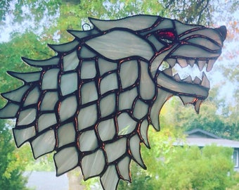 "Game of Thrones Direwolf ""Ghost"" Stained Glass"