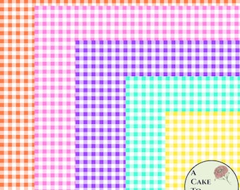 """3 full sheets gingham printed wafer paper for cake decorating or cupcake decorating. 8"""" x 10.5"""" edible paper pages to wrap a cake tier"""