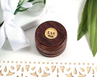 Ring Bearer Box, Small Round Wedding Ring Box, Custom Ring Box, Hand Stamped, Rustic Wood Ring Box, Wedding Ring Holder, Round Ring box