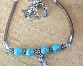 western bracelet, turquoise beaded bracelet, beaded leather bracelet, frienship bracelet, feather bracelet