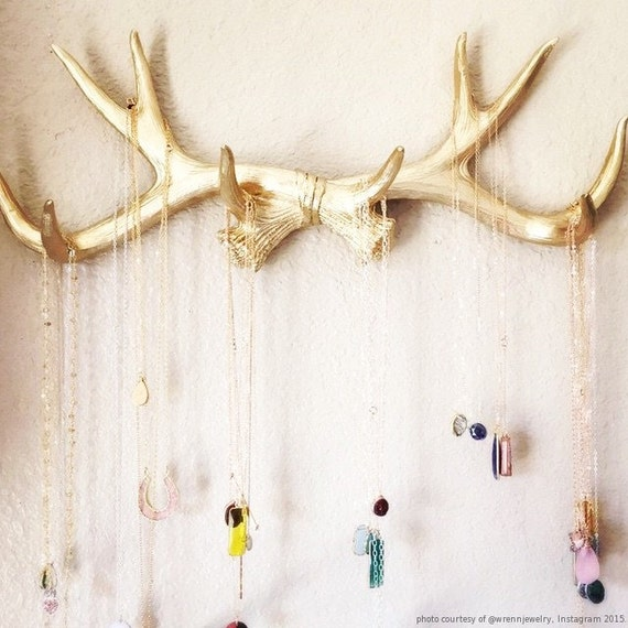 Faux Deer Antlers Rack in Gold Deer Antler Decor Wall Hook