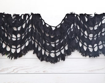 Crochet cover up, Beautiful Black Lace Scarf, Summer scarves, Gift for Her, Women's Scarf (010)