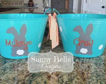 Personalized Easter Bucket; Bunny Tail; Easter Bucket with Gray Bunny