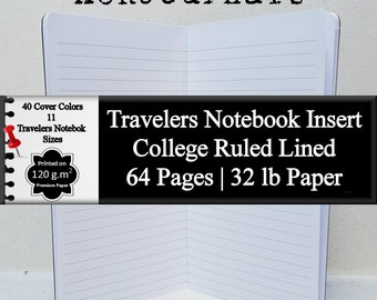 Travelers Notebook Insert 64 Page Lined Narrow Ruled Notebook Lined Journal Notebook Writing Journal Lined Diary Journal Daily Diary