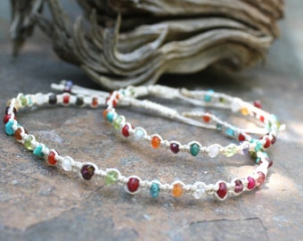 Adjustable Hemp Anklet, Mixed Gemstone Anklet, Hemp Macrame Bracelet, Adjustable Macrame Bracelet, Beaded Macrame, Colorful Anklet