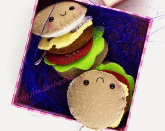 Tasty burger Felt Hamburger Gift