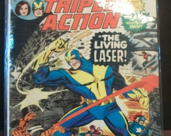 1973 Marvel Triple Action #26 The Avengers First Appearance Of Living Laser G-VG Reprint Of Avengers #34 Vintage Comic Book Marvel Comics